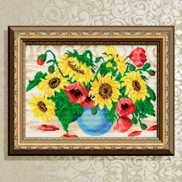 AT3031. Bouquet. Sunflowers with poppies