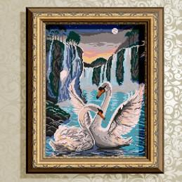 VKA3044. Лебеді біля водоспаду