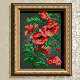 VKA3057. Poppies on black