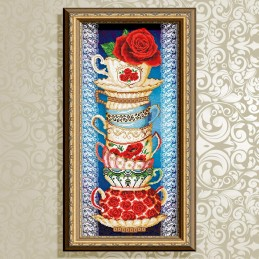 VKA3083. Cup with rose on blue