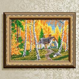 АТ3041. Домик в лесу. Осень.